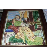 Exquisite Large Vintage Needlepoint Artwork-Victorian Couple Embracing - $277.00