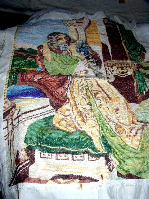 Exquisite Large Vintage Needlepoint Artwork-Victorian Couple Embracing