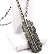 NECKLACE AND PENDANT, 925 SILVER, BURNISHED SATIN, FEATHER, CHAIN ROLO' image 1