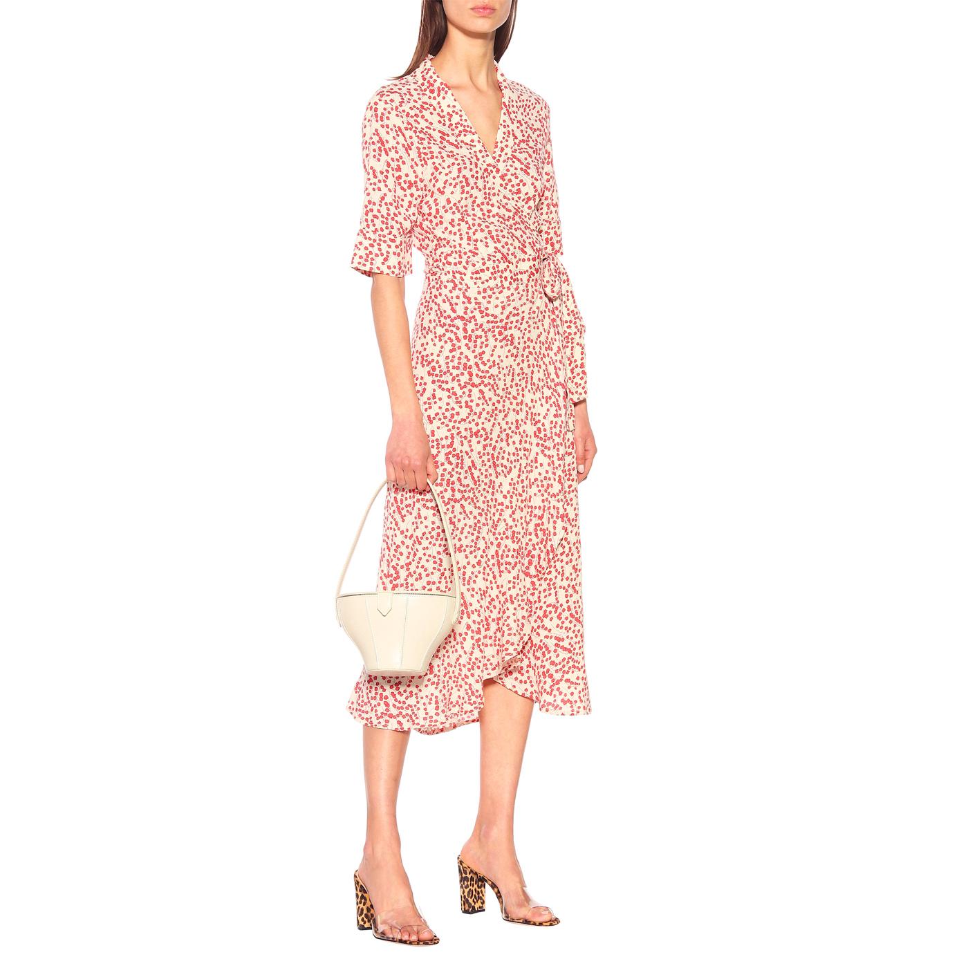 Ganni red floral print crepe wrap dress 3