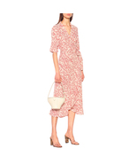 GANNI Floral Printed Wrap Crepe Dress with Tie Closure - $155.00