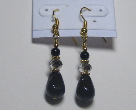 Black and gray drop earrings