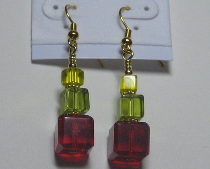 Drop earrings: Stacks of cubes (Red, Green, Yellow)