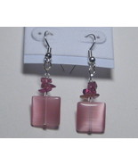 Pink with pink square earrings - $8.00
