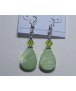 Light green drop earrings - $6.00