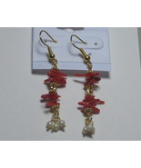 Red and pearl earrings - $10.00