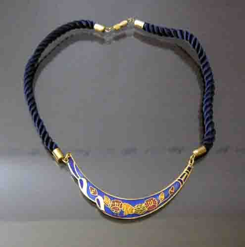 Blue crescent necklace