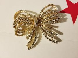 Gold Bow/Butterfly Swarovski Crystal Brooch Pin image 2