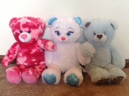 "Build A Bear 16"" Plush Lot Of 3 Bears Pink Camo Cuddly Hearts Frozen Els... - $10.00"