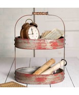 Two Tier Serving Metal Tray Vintage Style Rustic Farmhouse Kitchen Home ... - $64.30