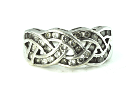 Sterling Silver CSJ Diamonique CZ Woven Channel Set Ring 10mm Size 10 - $19.79