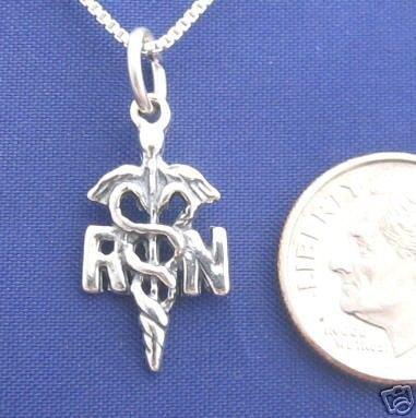 RN NURSE 18 Inch Necklace 925 Silver Medical N54