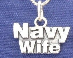 "ccj NAVY WIFE 18"" Necklace 925 Silver Military Family N13.C"