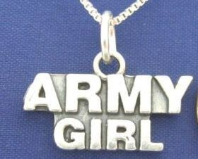 "ccj ARMY GIRL 16"" Necklace 925 Silver Military Family N13.I"