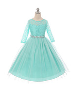 Mint Long Sleeve Stretchy Lace Bodice Tulle Skirt with Belt Girl Dress - $39.99+