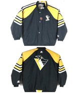 Vtg 90s Pittsburgh Penguins Men's Jacket Starter Black/Yellow NHL Center... - $64.17