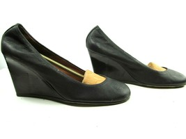 Lanvin Paris Womens Blacl Leather Round Toe Wedge High Heel Pumps Shoes US 10 image 2