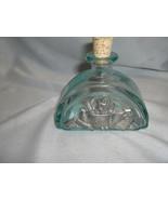 Vintage  Ice Blue Glass Cruet Pewter Decor VE Italy Cork Stopper 100ml NICE - $64.35