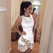 Leopard Print Sleeveless Irregular Women Bodycon Dress - $26.00