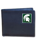michigan state spartans logo ncaa college leather bi-fold wallet made in... - $31.58