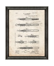 Fountain Pen Patent Print Old Look with Black Wood Frame - $24.95+