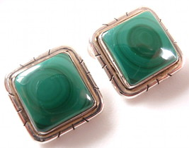 Green Malachite Square Stud Earrings Groove Accented 925 Sterling Silver... - $21.77