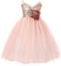 Flower Girl Dress Sequin Bodice Ruffle Bias Trim Blush KK 6411 - $44.54+