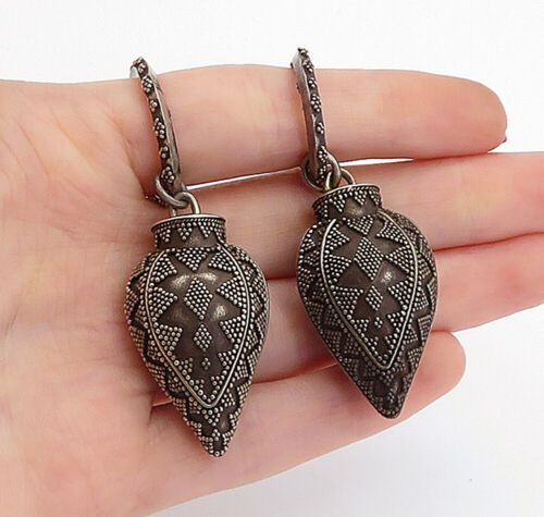 Primary image for BALI 925 Sterling Silver - Vintage Ornate Patterned Hollow Drop Earrings - E8892