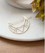 Gold Crescent Moon Hair Clip, Geometric Gold Moon Hair Pin, Minimal Mode... - $11.88