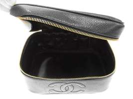 CHANEL Vanity Bag Caviar Leather Black Cosmetic Pouch A01997 Italy Authentic image 6
