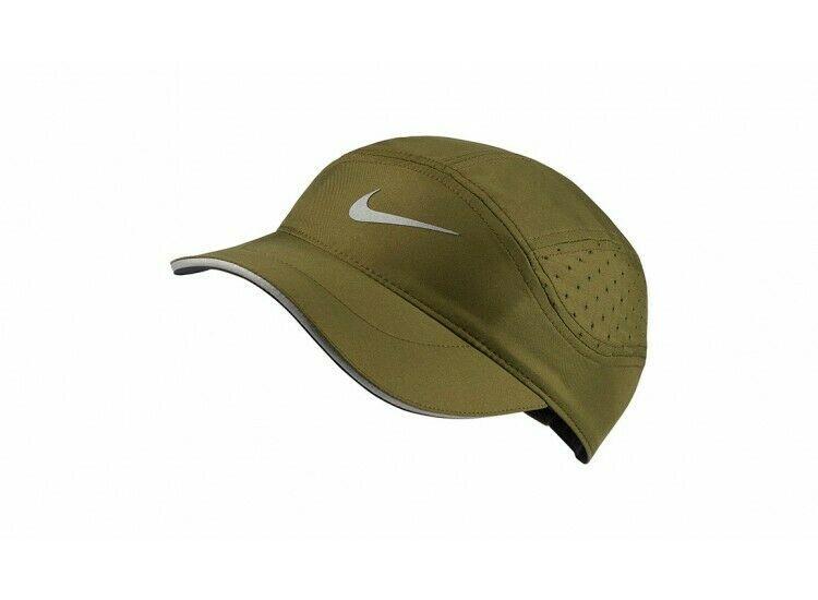 NEW! Nike Unisex Tailwind Aerobill Running Hat-Dark Olive/Silver 828617-355