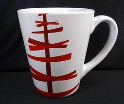 Starbucks tapered coffee mug White Red abstract Christmas tree 2012 12 oz - $9.13
