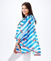 Nautical Compact Rain Poncho w Bag - Polyester Raincoat Waterproof w Hood Blue image 4