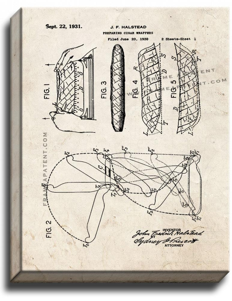 Primary image for Preparing Cigar Wrappers Patent Print Old Look on Canvas