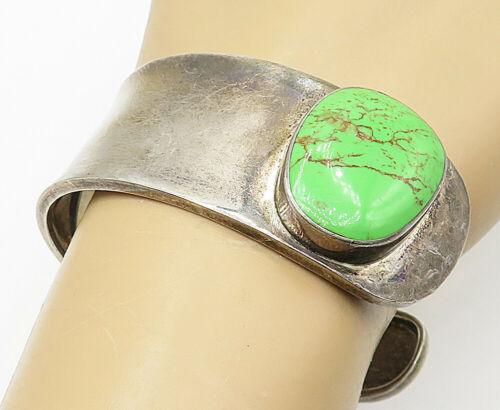 MEXICO 925 Silver - Vintage Green Turquoise Sideways Wide Cuff Bracelet - B4785