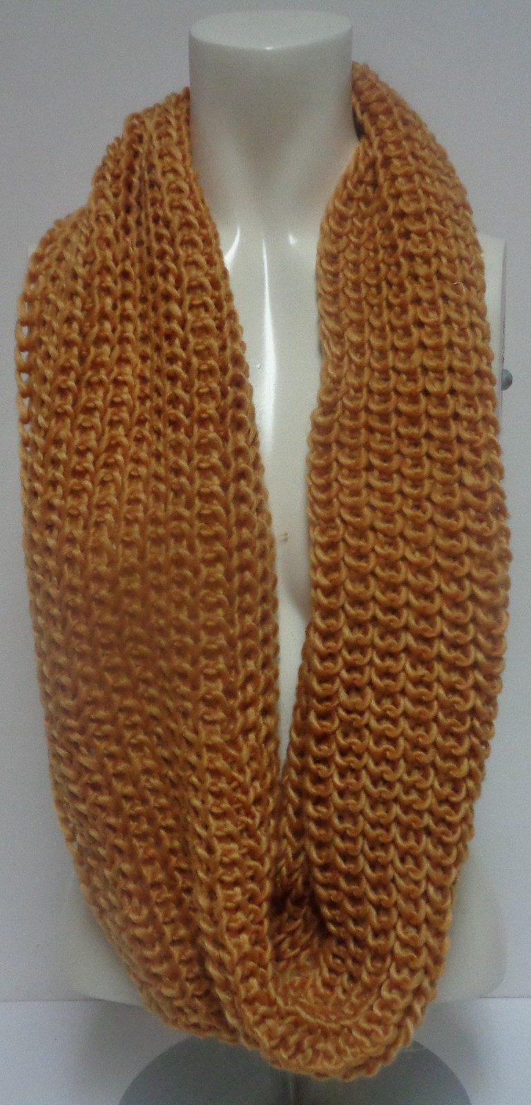 "Winter Scarf Gold NWT Women's Sz Adult 27"" Infinity Style Free Ship"