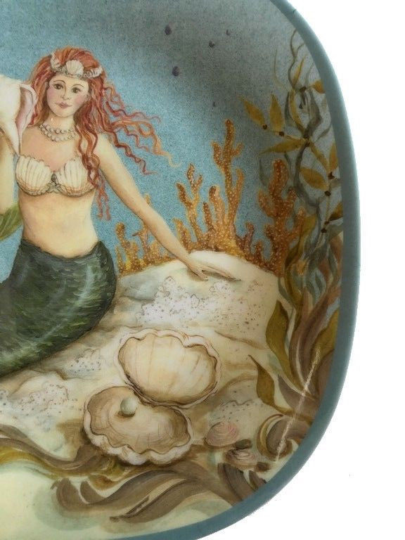 "Mermaid Melamine Plates 8.5"" Set of 4 Certified International Kate Mcrostie Blue"