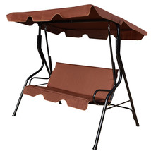 3 Seats Patio Canopy Swing-coffee - $147.08