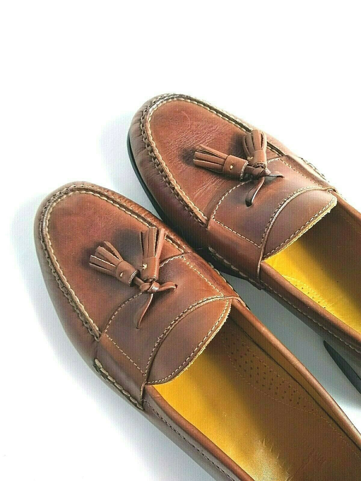 Cole Haan Men's Brown Leather Slip On Dress Pinch Tassel Loafer Sze 12 Air Sole
