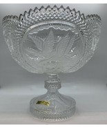Vtg LEAD CRYSTAL HAND CUT GLASS COMPOTE WESTERN GERMANY ETCHED GEESE SAW... - $117.81