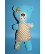"Orange GINGHAM TEDDY BEAR Rattle 8.5"" Maison Chic Baby Toy Blue Corduroy... - $15.45"