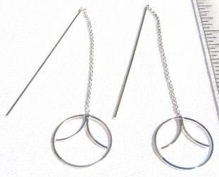 ccj CIRCLE & BAR Thread Earrings Sterling Silver BS20