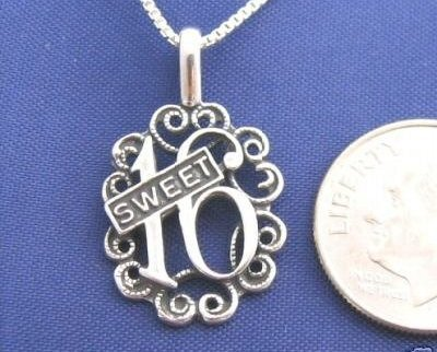 Sterling Silver SWEET 16 - 16 Inch Necklace Pendant 925  Love N23