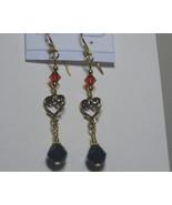 Swarovski earrings: Black and red dangle earrings - $15.00