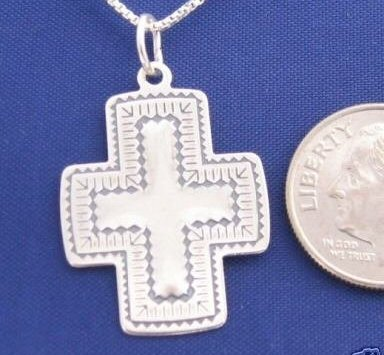 Sterling Silver Western Cross 18 Inch Necklace Pendant 925 Religious N01.C
