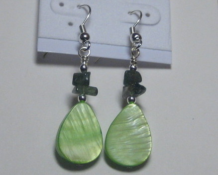 Light green and sage drop earrings