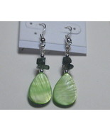 Light green and sage drop earrings - $6.00