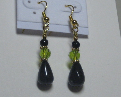 Black and green drop earrings