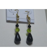 Black and green drop earrings - $8.00