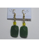 Olive green and yellow earrings - $6.00